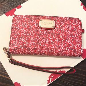 Michael Kors Red Floral Jetset Wallet Wristlet